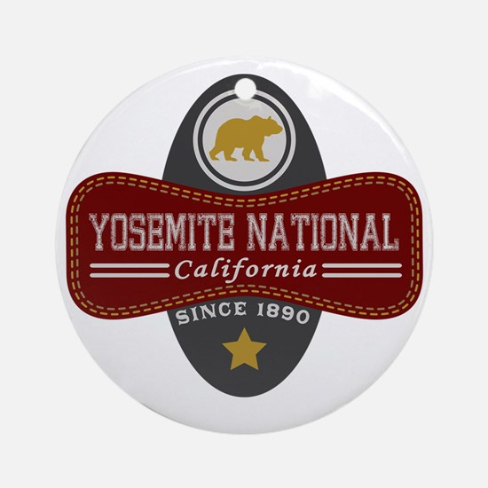 Yosemite Natural Marquis Round Ornament