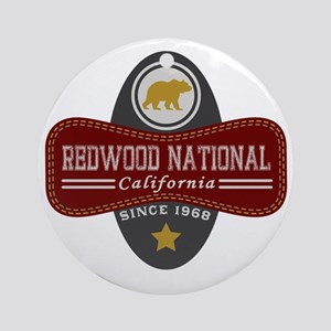 Redwood Natural Marquis Round Ornament