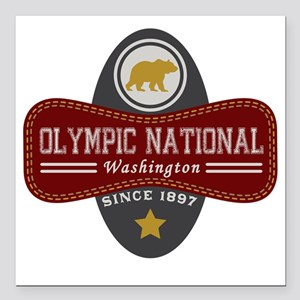 """Olympic Natural Marquis Square Car Magnet 3"""" x 3"""""""