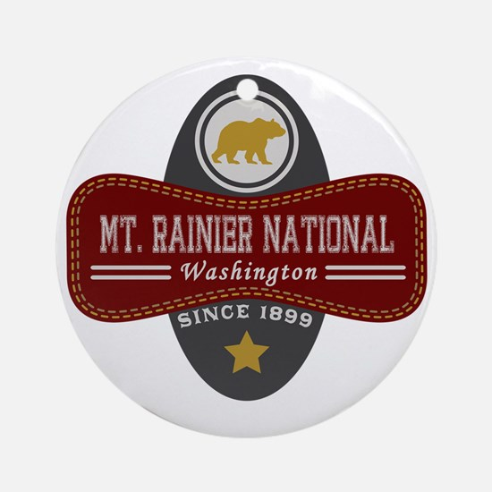 Mt. Rainier Natural Marquis Round Ornament