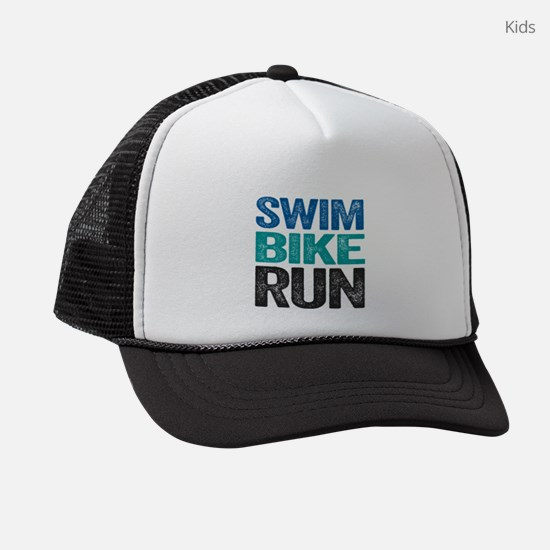 Triathlon. Swim. Bike. Run. Kids Trucker hat