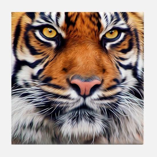 Siberian Tiger Male Tile Coaster