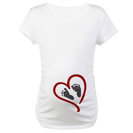 Baby Heart Feet Red Maternity T-Shirt