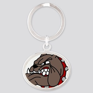 Bulldog Oval Keychain