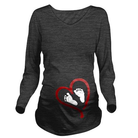 Baby Feet Heart Red Long Sleeve Maternity T-Shirt
