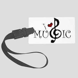 I Love Music Large Luggage Tag