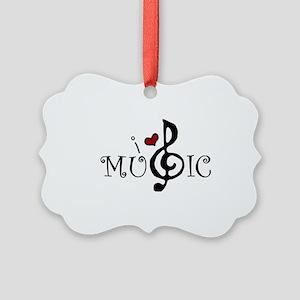 I Love Music Picture Ornament