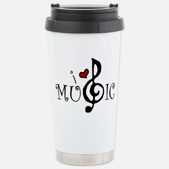 I Love Music Stainless Steel Travel Mug