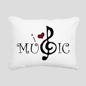 I Love Music Rectangular Canvas Pillow