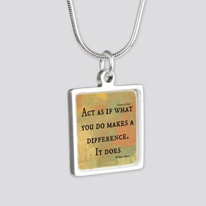 You Make a Difference Silver Square Necklace