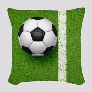 soccer ball Woven Throw Pillow