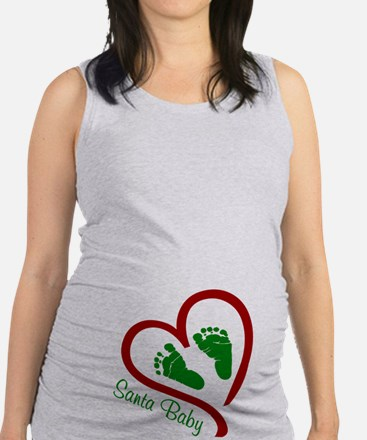 Santa Baby Feet Heart Maternity Tank Top