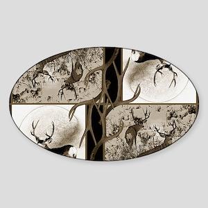 Rustic Mule deer Sticker (Oval)
