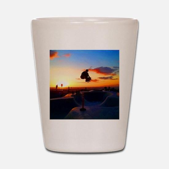 Skateboard Sunset Shot Glass