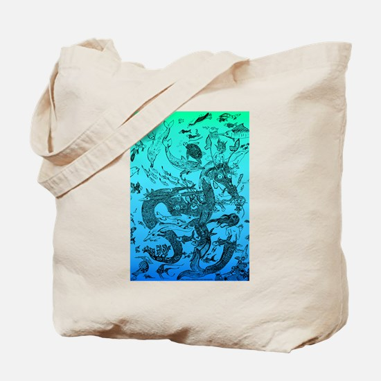 Underwater Black on Aqua Tote Bag