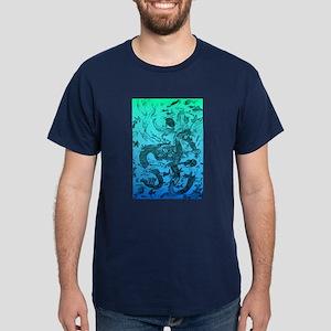 Underwater Black on Aqua Dark T-Shirt