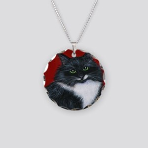 Tuxedo Cat Twinkle Toes Necklace Circle Charm