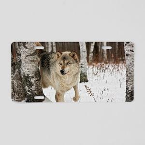 Winter Wolf Aluminum License Plate