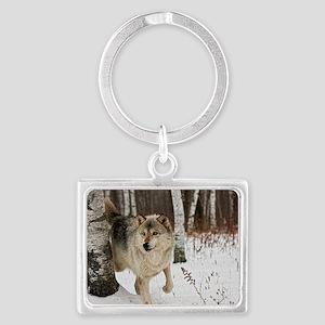 Winter Wolf Landscape Keychain