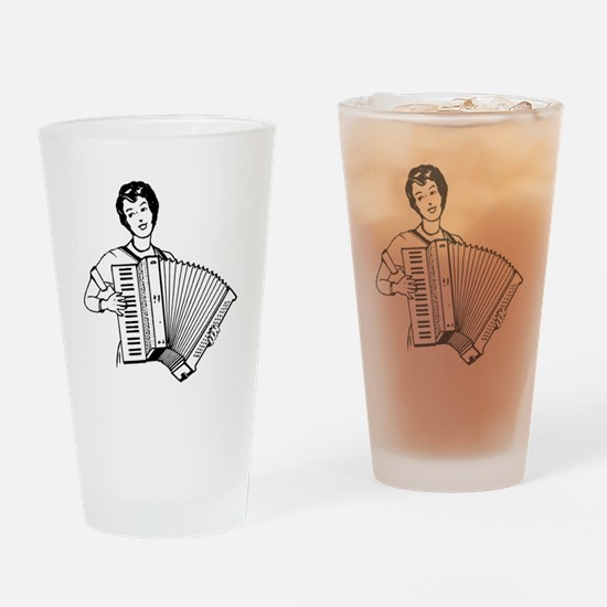Woman Playing Accordion Drinking Glass