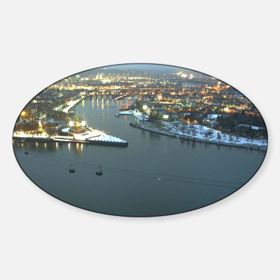 Rhine river & Mosel winter Sticker (Oval)