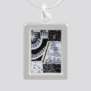 0562-clarinet Silver Portrait Necklace