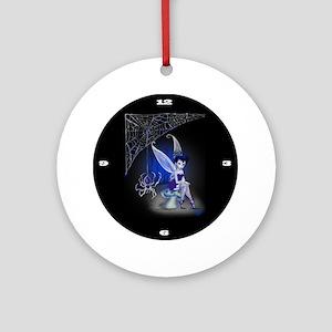 Spider Gothic Fairy Clock Round Ornament
