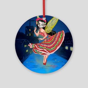 Mariachi Fairy with Dia de los Muer Round Ornament