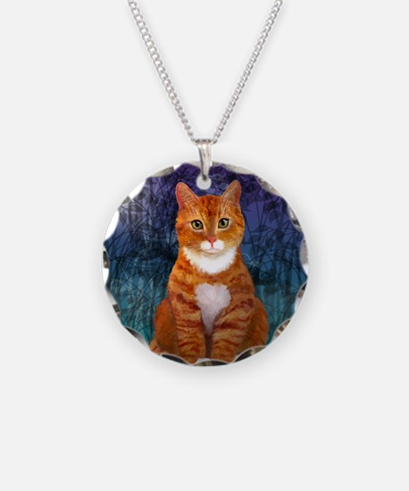 Orange Tabby Cat Snowflake O Necklace