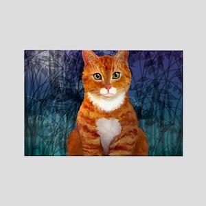 Orange Tabby Cat Snowflake Orname Rectangle Magnet