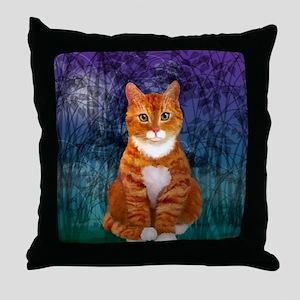 Orange Tabby Cat Snowflake Ornament Throw Pillow