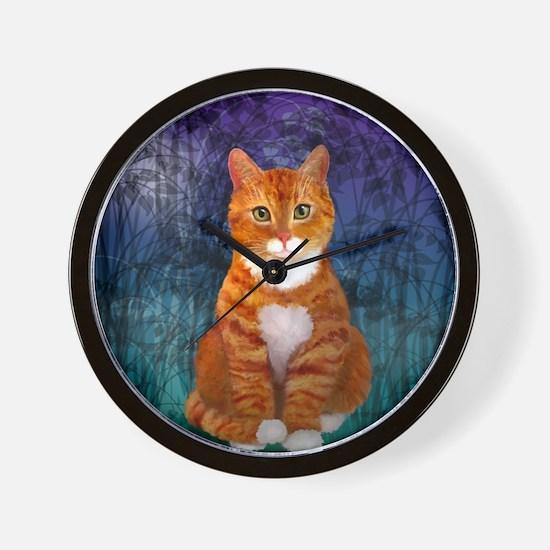 Orange Tabby Cat Snowflake Ornament Wall Clock