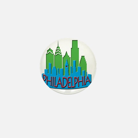 Philly Skyline Newwave Primary Mini Button