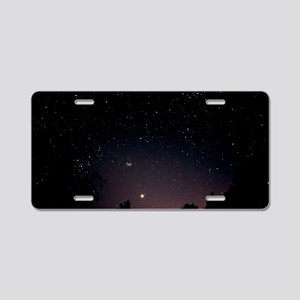View of the planet Venus an Aluminum License Plate