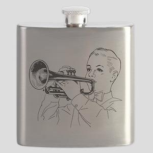 Boy Playing Cornet Flask