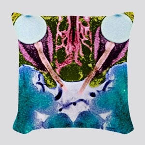 Vision and the brain, MRI scan Woven Throw Pillow