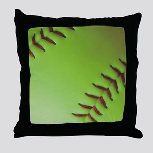 Optic yellow fastpitch softball Throw Pillow