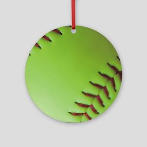 Optic yellow fastpitch softball Round Ornament