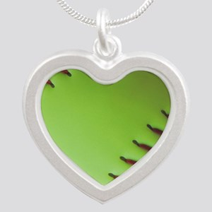 Optic yellow fastpitch softb Silver Heart Necklace