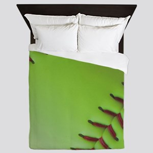 Optic yellow fastpitch softball Queen Duvet