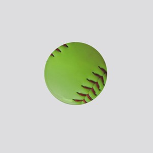 Optic yellow fastpitch softball Mini Button