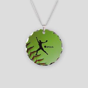 iPitch Fastpitch Softball (r Necklace Circle Charm