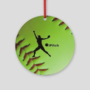 iPitch Fastpitch Softball (right ha Round Ornament