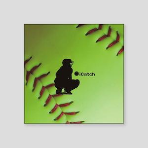 "iCatch Fastpitch Softball Square Sticker 3"" x 3"""