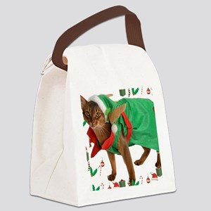 Christmas Abyssinian cat Canvas Lunch Bag
