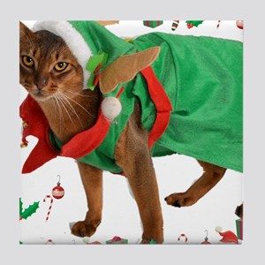 Christmas Abyssinian cat Tile Coaster