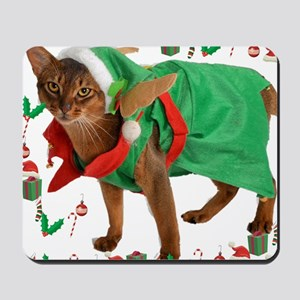Christmas Abyssinian cat Mousepad