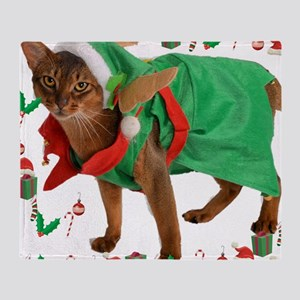 Christmas Abyssinian cat Throw Blanket