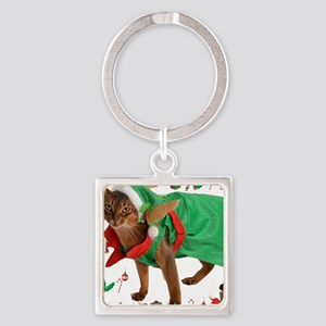 Christmas Abyssinian cat Square Keychain