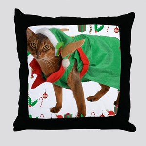 Christmas Abyssinian cat Throw Pillow